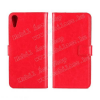 Notesz tok / flip tok - PIROS - asztali tartó funkciós, oldalra nyíló, rejtett mágneses záródás, bankkártya tartó - HTC Desire 828