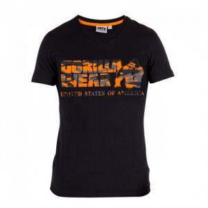 Gorilla Wear Sacramento V-Neck T-Shirt - Black/Neon Orange