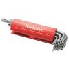 Fortum lyukas torx kulcs klt., hosszú, 9db, T10-50, S2, 10db/cse; T10-T15-T20-T25-T27-T30-T40-T45-T50, műanyag markolat