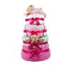 Babaváró ajándék ötlet: Rózsaszín négy emeletes pelenkatorta macikkal pelenka