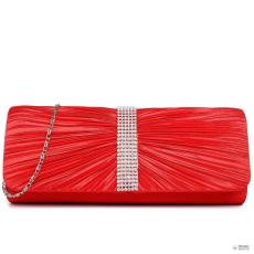 LY1683 - Miss Lulu London Ruched gyémánt pöttyded estélyi Táska Clutch táska piros