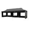 OEM Kerti parti sátor – fekete pavilon 3 x 9 m + oldalfalak