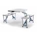 Összecsukható alumínium asztal beépített paddal.