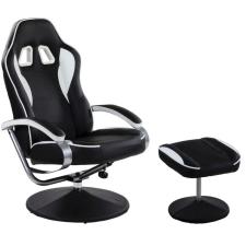Irodai szék lábtartóval - GT RELAX RACER, fehér/fekete forgószék