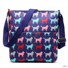 LC1644NDG - Miss Lulu London Regularmattte Oilcloth szögletes táska Dog Navy