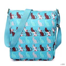 LC1644CT - Miss Lulu London Regularmattte Oilcloth szögletes táska Cat Teal