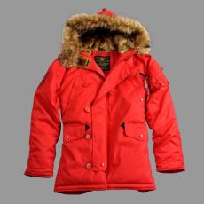 Alpha Industries Explorer női valódi szőrmével - speed red színű kabát