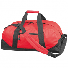 600 D gyöngyvászon sporttáska, piros (Extra minőségű gyöngyvászon sporttáska, oldal zsebbel, tágas)