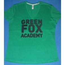 KARIBAN női V-nyakú HÍMZETT póló, fűzöld (Kariban női V-nyakú hímzett póló, fűzöld, méretek L; és XL;)