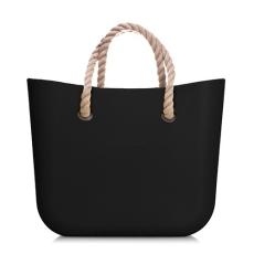 MyBag női szilikon táska Fekete színű (Natur kötél fülekkel)