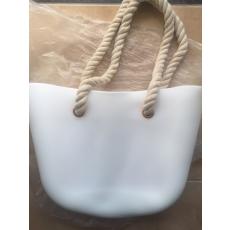 MyBag női szilikon táska fehér színű (Natur kötél fülekkel)