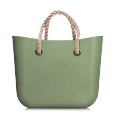 MyBag női szilikon táska sötétzöld színű (Natur kötél fülekkel)