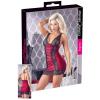 Cottelli Plus Size - exkluzív fűzős-csipkés ruha (piros-fekete)