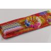 12 db színes csíkos tortagyertya műanyag tartóval