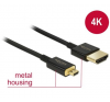 DELOCK Cable High Speed HDMI with Ethernet - HDMI-A male > HDMI Micro-D male 3D 4K 1 m Premium... mobiltelefon kellék