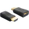 DELOCK HDMI HDMI mini C M/F adapter fekete