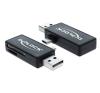 DELOCK USB 2.0 SD/MicroSD kártyaolvasó fekete OTG kártyaolvasó
