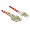 DELOCK LC -> SC M/M optikai fiber kábel 1m Multimode OM4 piros