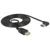 DELOCK Easy-USB -> USB A M/F adatkábel 3m 90°/egyenes fekete