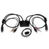 Startech DisplayPort 2 portos USB KVM switch integrált kábelekkel