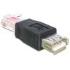 DELOCK USB A -> RJ45 F/M adapter fekete