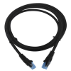 LogiLink CAT5e UTP Flat Patch Cable, AWG 30, blue colour RJ45 short plug, black, 0,50M
