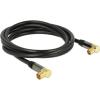DELOCK IEC M/F antenna kábel 2m RG-6/U 90° fekete