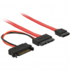 DELOCK Cable Slim SATA female > SATA 7 pin + SATA 15 pin 5 V 70 cm