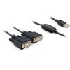 DELOCK USB A -> 2db Serial RS-232 M/M adatkábel 1.4m fekete