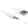 DELOCK USB A -> Jack stereo 3,5mm (4pin) M/M adatkábel 1m iPod-hoz fehér