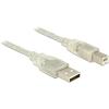 DELOCK USB 2.0-s kábel A-típusú csatlakozódugóval > USB 2.0-s, B-típusú csatlakozódugóval 1 m