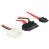 DELOCK Cable Micro SATA male angled > SATA 7 pin + 2 pin Power 5 V 60 cm