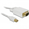 DELOCK Displayport mini -> VGA M/M video jelkábel 2m fehér