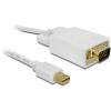 DELOCK Displayport mini -> VGA M/M video jelkábel 2m fehér