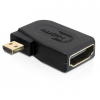 DELOCK HDMI micro D Ethernet -> HDMI M/F adapter 90° bal fekete