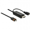 DELOCK HDMI USB micro B -> SlimPort / MyDP M/M video jelkábel 1.5m High Speed fekete