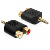DELOCK Jack stereo 3,5mm -> 2db RCA M/F adapter fekete