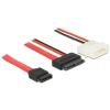 DELOCK SATA -> SATA Slimline 13pin F/F adatkábel 0.5m piros