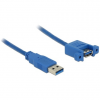 DELOCK Cable USB 3.0 Type-A male > USB 3.0 Type-A female panel-mount 1 m