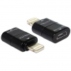 DELOCK iPhone 8pin -> USB micro B M/F adapter (IPhone 6 / 6 plus / 5 / 5C / 5S, IPod Touch 5) fekete