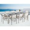 Beliani Kerti bútor szett - Polírozott szürke gránit asztallap 220 cm - 8 db. fehér textil szék - GROSSETO