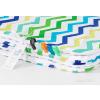 Pihe puha minky takaró -Fehér, kék-zöld cikk cakk