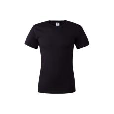 KEYA unisex környakas pamut póló, fekete