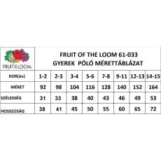 Fruit of the Loom gyerek rövid ujjú póló, natur