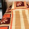 Krepp ágyneműhuzat (barna virágos)