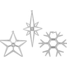 Karácsonyi dekoráció ablakra - készlet3 csillag és hópehely LED karácsonyfa izzósor