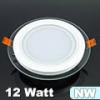 Üveg keretes LED panel (kör) - 12 Watt - természetes fényű
