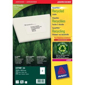 Avery Etikett -LR7168-100- újrahasznosított 199, 6x143, 5mm AVERY <100db/ dob>