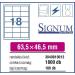 Signum Etikett -2040058- 63, 5*46, 5 mm 18címke/ lap <100lap/ dob>