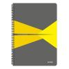 """Leitz Spirálfüzet, A4, kockás, 90 lap, PP borító, LEITZ """"Office"""", szürke-sárga"""